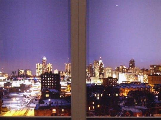The view of the Detroit skyline at night as shown to