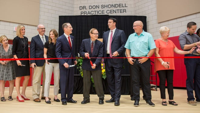 Hundreds of family, officials and former players attend the opening of the Dr. Don Shondell Practice Center Saturday at Ball State University.