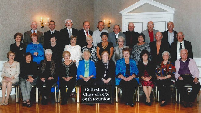 Members of the Gettysburg High School Class of 1956 who attended its 60th reunion recently, front row, from left, are: Sophia (Matthews) Kunkel, Barbara Klocker, Susan Britcher, Sondra (Pensinger) Bevenour, Verna (Bowmaster) Reedy, Petey (Pfeffer) Dorr, Phyllis (Cleveland) Smith, Nancy (Sponseller) Sheely, Joyce (Kendlehart) Koontz, J. Richard Sharrah; middle row: Elizabeth (Heldt) Huffman, Jane (Reuning) English, Betty (Smith) Hall, Aurelia (Spence) Luton, Jane (Bigham) Sulzberger, Molly (Lighter) Harned, Darlene (Baker) Grube, Erika (Kaseberg) Naugle, Lauren Starner, Dale Biesecker; back row: David Weaver, Peter Pennington, Glenn Weishaar, Waldo Hartman, Paul Shriver, Tom Elledge, Ervin Ridinger, Jack Kunkel and Rolf Johnson.