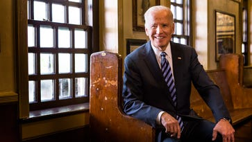 Vice President Joe Biden poses for a portrait at McGillin's Olde Ale House in Philadelphia, Pa. after meeting with Delaware's delegation to the Democratic National Convention on Wednesday morning.