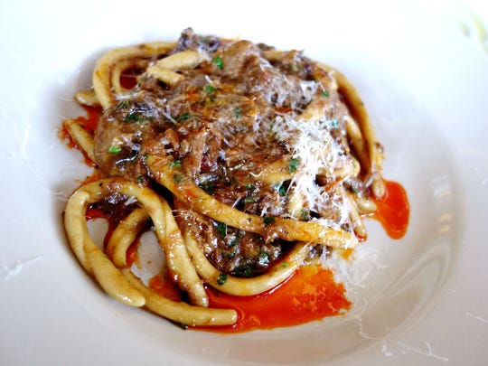 Fileja with Cinnamon Roost Farms lamb ragu and chile