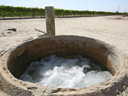 Irrigation water near a grape vineyard in Coachella, Tuesday, April 15, 2015.