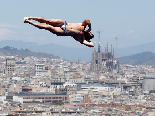 Silver medalist David Boudia from the U.S. performs