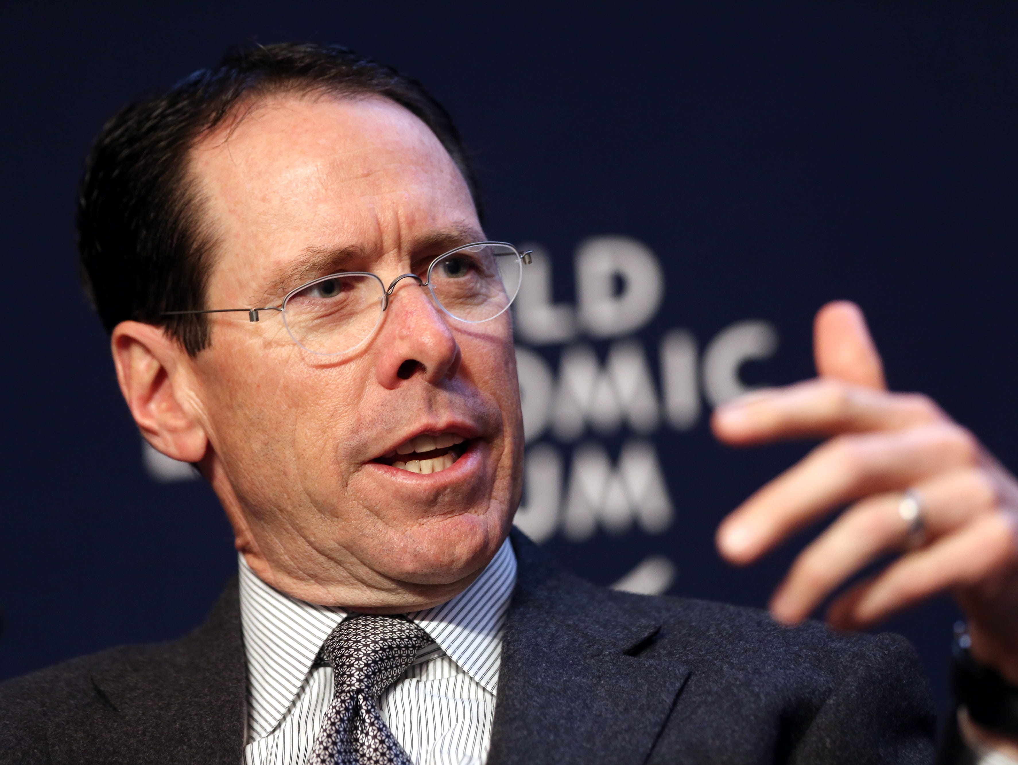 Randall Stephenson, chief executive officer of AT&T Inc., in a session on the opening day of the World Economic Forum (WEF) in Davos, Switzerland, on Wednesday, Jan. 22, 2014.