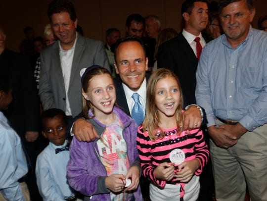 Matt Bevin has his photo taken with Libby and Emma