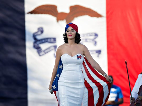 Katy Perry performs at rally for Hillary Clinton, in