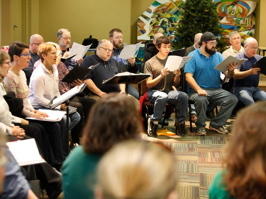 A view of some of the members of the Voices of Kentuckiana LGBT chorus, seen during a reharsal. Nov. 22, 2015.