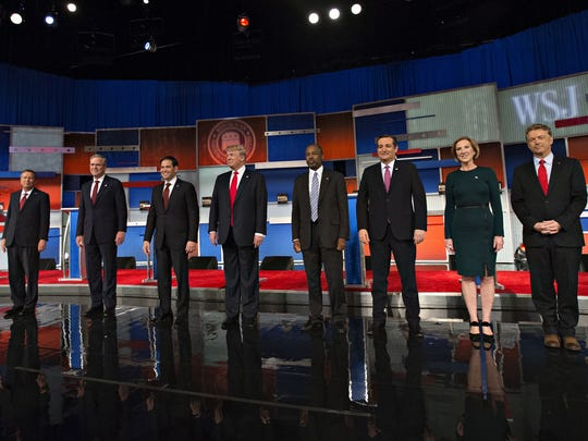 GOP candidates take part in a televised debate in Milwaukee, Wisconsin, on Nov. 10, 2015.