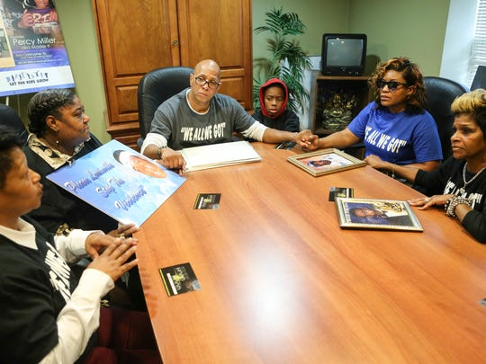 Teresa Miller, clockwise from left, Darlene McNealy, Christopher 2X, Ki'Anthony Tyus, Kela Brasher, and Angela Newby Bouggess have a sit down meeting Thursday morning. There have been ongoing tensions between the two factions of McNealy and Brasher's families and friends, the two matriarchs hope to quell any plans for revenge over their sons' deaths. Nov. 26, 2015
