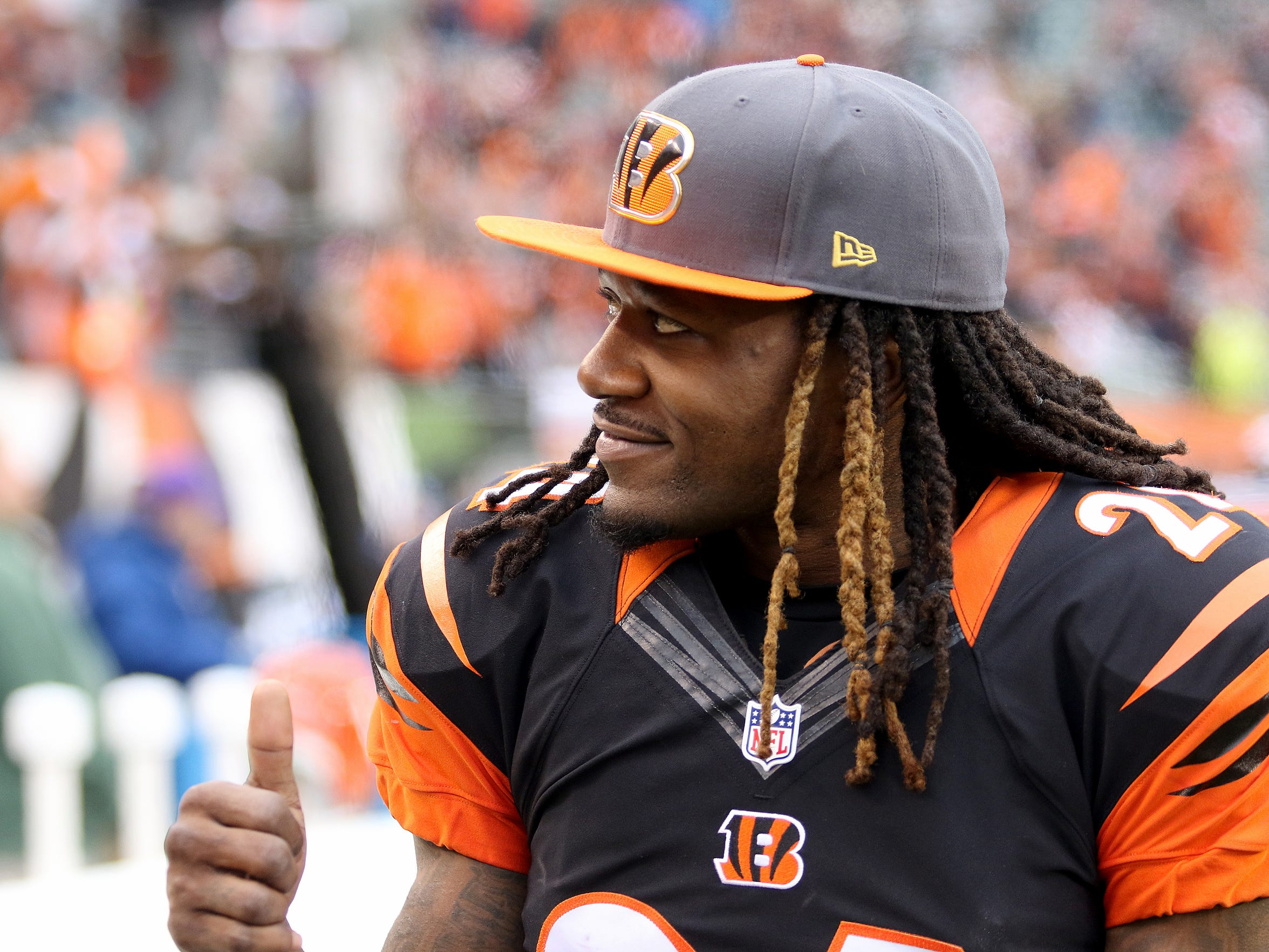Bengals Adam Jones gives fans a thumbs-up after the