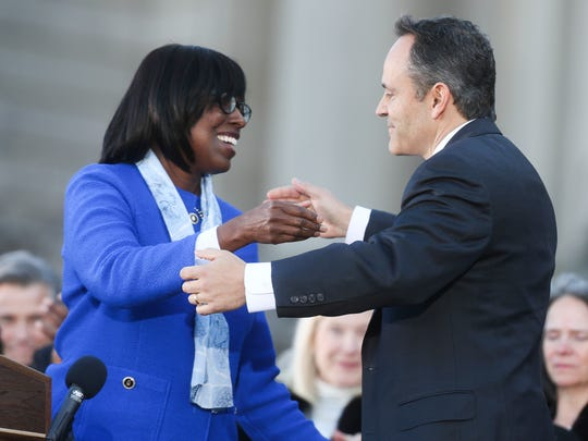 Since their swearing-in ceremony in December 2015 (pictured here), the relationship between Gov. Matt Bevin and Lt. Gov. Jenean Hampton has cooled, particularly evident when Bevin chose another running mate for this year's reelection race.