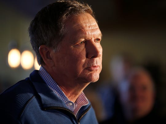 Ohio governor John Kasich listens to questions during the Charleston County Town Hall at Finn's Brick Oven in Mt Pleasant, South Carolina Wednesday February 10, 2016.