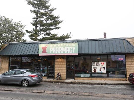 Outside of the St. Matthews Community Pharmacy. Feb.