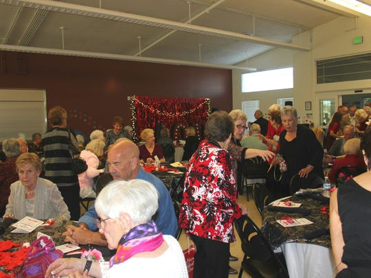 Seniors were seated at special places with custom menus for the Valentine's dinner on Friday at the Mesquite Senior Center.