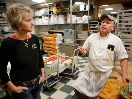 Marguerite Schadt, left and Dan Schadt, co-owner's of Heitzman Traditional Bakery where fresh-baked Philadelphia Pretzels are still made in the style of the long-defunct Dooley's.  March 2, 2016
