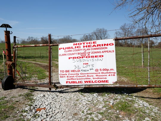 The entrance to a planned subdivision in Utica, Ind. The East End bridge and Interstate 265 could bring unprecedented growth to the quiet community.