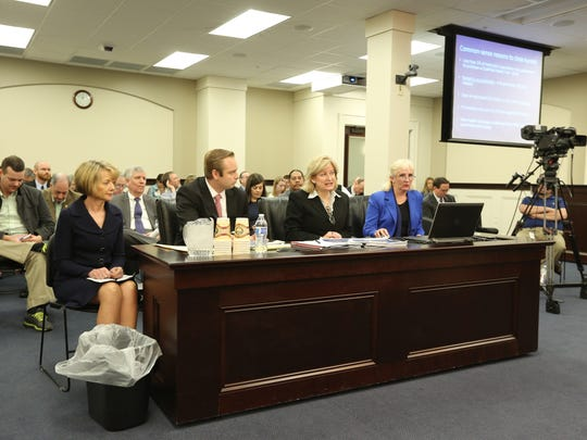 Vickie Yates Brown Glisson, second from right, Secretary of Health and Family Services testified April 11 about problems the Benefind system. At left is Deloitte executive Deborah Sills.