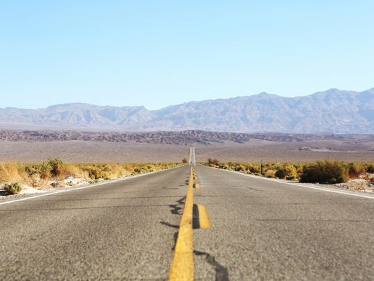 California State Route 190 looking east in Death Valley National Park on March 23, 2016.