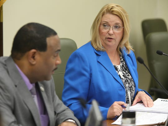 MSD board chariman Cynthia Caudill had a question for the utility's Executive Director Ron Parrot during a board meeting to discuss a proposed 20 percent rate increase. May 23, 2016.