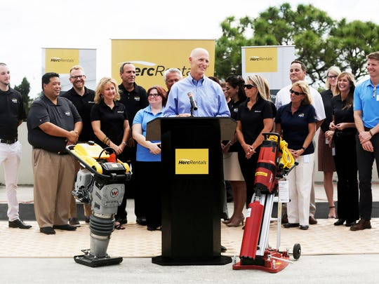 Gov. Rick Scott addresses employees at Herc Rentals in Bonita Springs on Thursday, Oct. 20, 2016.