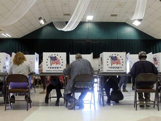Voters at the Sgt. Willie Estrada Memorial Civic Center