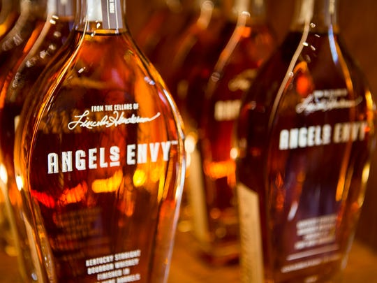 Bottles of Angel's Envy, aged in port wine barrels,