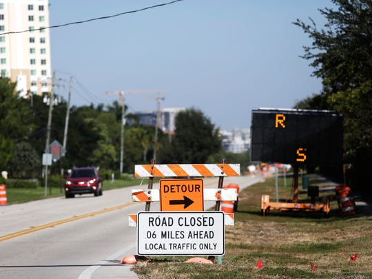 Construction takes place on Vanderbilt Drive on Wednesday, Nov. 16, 2016. Vanderbilt Drive is closed between 111th Avenue and Wiggins Pass Road.