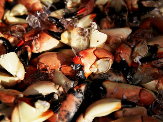 Stone crabs for sale during the Stone Crab Festival at Tin City in Naples on Friday, Oct. 28, 2016.