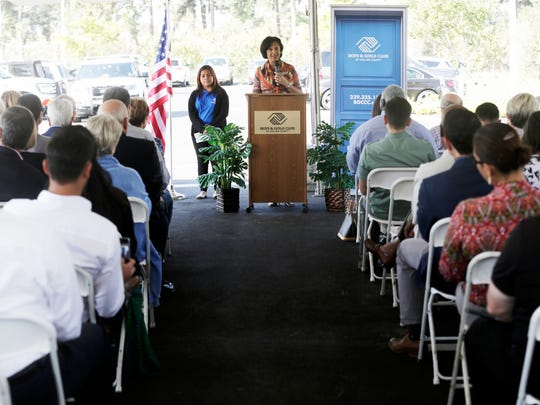 President and CEO Theresa Shaw addresses attendees during the grand opening and ribbon-cutting for the new Boys & Girls Club of Collier County Bolch Campus in Immokalee on Thursday, Nov. 17, 2016.