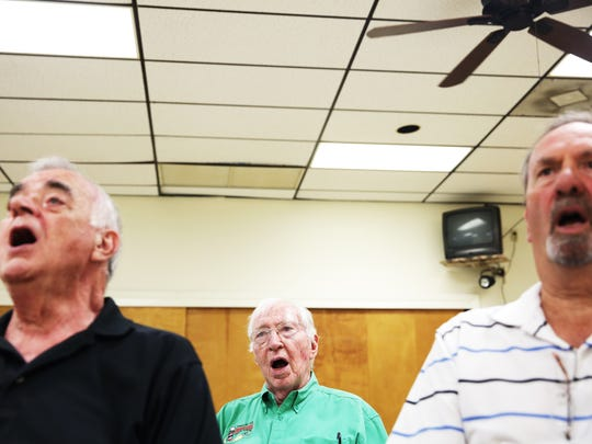 Mike Joynt practices with his men's singing group The Chorus of the Everglades, a barbershop chorus, in Naples on Thursday, Nov. 3, 2016.