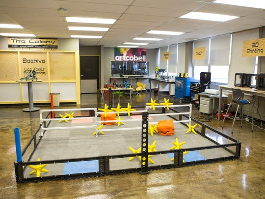 """An overview of """"The Colony"""" maker space at Central High School which is used by students with tech, programming and engineering interests to create projects. JCPS has approved the first high-school-level Montessori program at Central High School, which will look to complete the bridge for current JCPS K-8 Montessori programs through high school. """"JCPS has a K-8 experience for families in the Montessori program and then it stopped. We were getting you three-quarters of the way and then there was nothing else. Kids that excel in that program love it,"""" principal Raymond Green said. Nov. 30, 2016"""