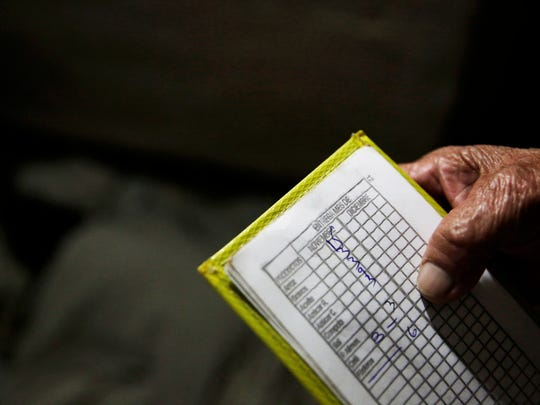 Alba Lara, 71, shows her notepad that she uses for keeping track of how much food she has left in her Havana, Cuba, home on Tuesday, Nov. 29, 2016.