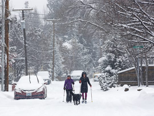 It's coming. A winter storm that dropped significant snowfall on Bend, Ore., on Thursday is making its way across the country. The Fox Valley is expected to see snow by late Saturday and through much of Sunday, followed by plunging temperatures by Tuesday.