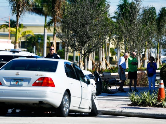 The scene of an accident involving three cars at the intersection of Central Ave and US 41 in Naples on Wednesday, Dec. 14, 2016.