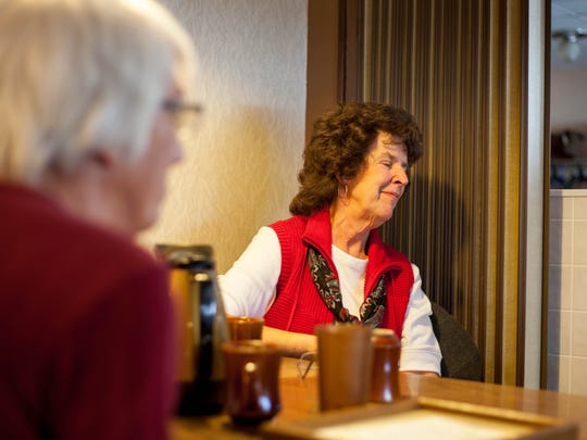 Pat Krall, a local of The Patio Restaurant, smiles on the good times she has had with close friends while eating there. The Patio Restaurant closes on Dec. 30, 2016.