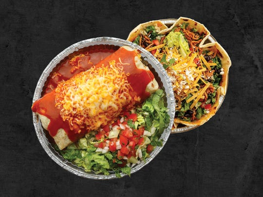 Burrito and taco salad from Cafe Rio.