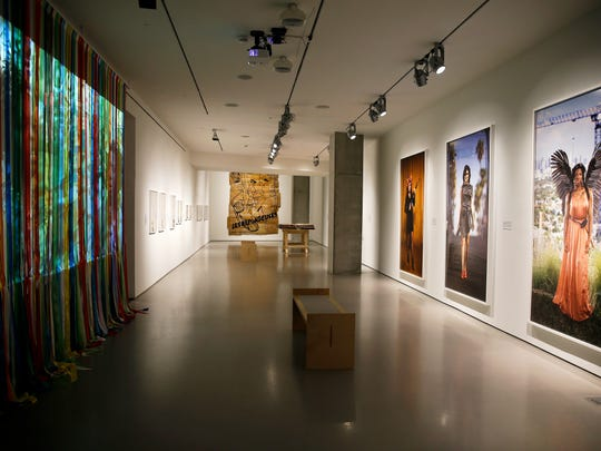 """A view of the exhibit by Andrea Bowers, """"Womxn Workers of the World Unite!"""" The show, up until June, is the first solo exhibition in Ohio from the Wilmington, Ohio native."""