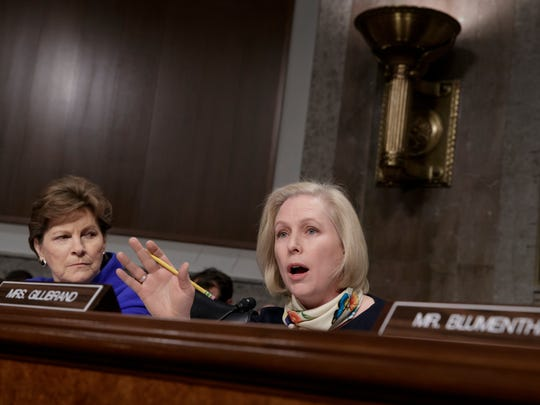 Sen. Kirsten Gillibrand, D-N.Y., joined at left by Sen. Jeanne Shaheen, D-N.H., questions Marine Gen. Robert B. Neller, the commandant of the Marine Corps, at a Senate Armed Services Committee hearing on March, 14, 2017.