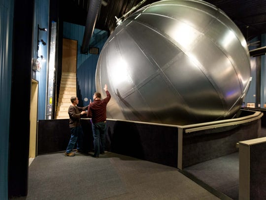 Frank Kovac, builder and founder of Kovac Planetarium, talks to USA TODAY NETWORK-Wis., reporter, Keith Uhlig about the mechanics behind the planetarium on March 25, 2017.
