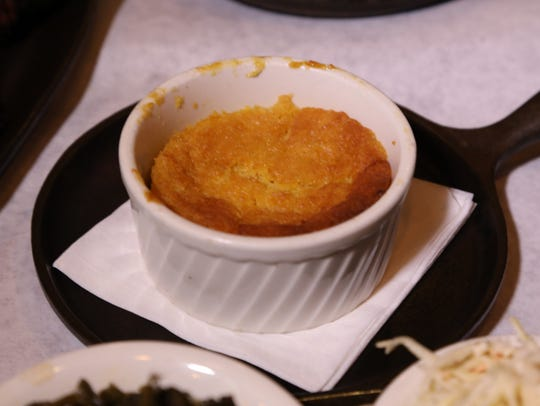 Corn soufflé at Fink's BBQ in Dumont.