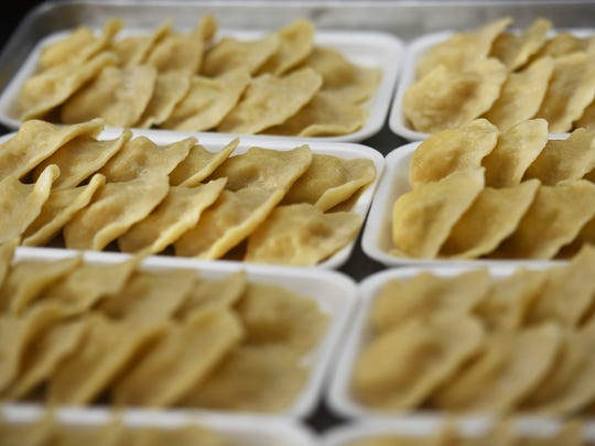 otato and cheese pierogis, photographed   at Piast Meats in Garfield.