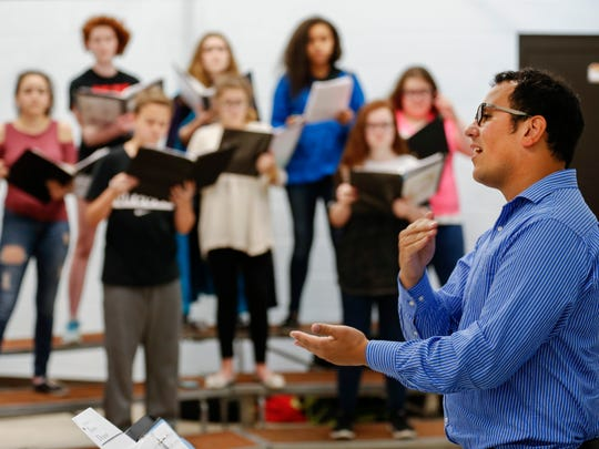 Daniel Gutierrez works with his students in the choir at Reed Academy on Monday, April 24, 2017. Gutierrez was named the Springfield Public School's 2017-2018 Teacher of the Year.