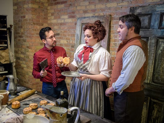 """""""What's in these pies,"""" director Matthew Ozawa (left) asks Christina Hall and Andrew Varela, who star in Skylight Music Theatre's """"Sweeney Todd."""""""