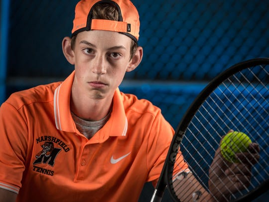 Will Fay, a sophomore at Marshfield High School, has enjoyed a successful season with his older brother, John Fay, playing No. 2 doubles. Taken on May 15, 2017 in Marshfield, Wis.
