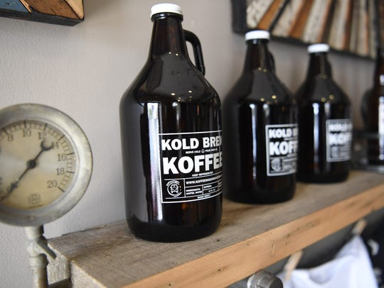 """Kold Brew"" growlers for sale at Koffeewagon Roasters."