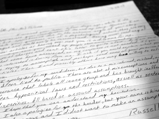 A letter from Russell Guillory, convicted of receipt