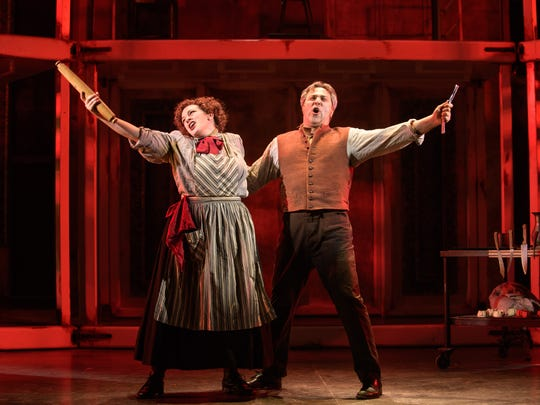 """Christina Hall and Andrew Varela share an unusual business plan in Skylight Music Theatre's """"Sweeney Todd."""""""