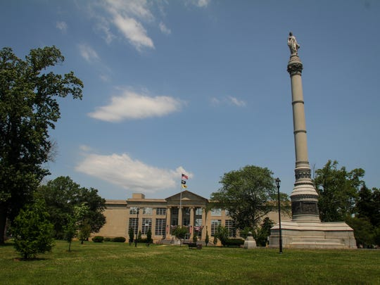 Battle Monument stands over 90 ft tall.  It is near the Monmouth County Court building and across the street from the Historical building.