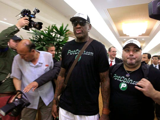 Former NBA basketball player Dennis Rodman arrives at Sunan International Airport June 13, 2017, in Pyongyang.