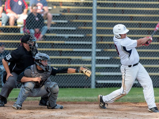 Stevens Point's Cole Wright unloads for a two-run home run in the bottom of the first inning against Plover in a Wisconsin Valley Legion League matchup at Bukolt Park on Tuesday night.